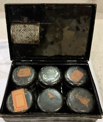 Antique Primitive Spice Tins Canisters With Original Box And Grate