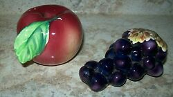 Vintage Apple And Grapes Salt And Pepper Shakers By Py Miyawo Company Limited