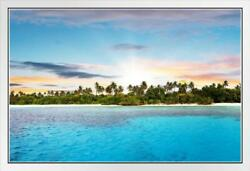 Beautiful Remote Tropical Island In Sunset Photo White Wood Framed Poster 20x14