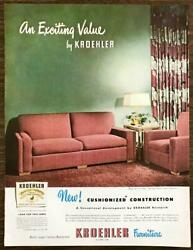 1947 Kroehler Furniture Print Ad Cushioned Construction Pine Tree Boucle Fabric