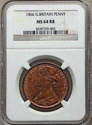 Great Britain Victoria 1866 Penny, Choice Uncirculated, Certified Ngc Ms64-rb