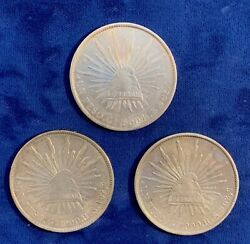 Mexico - Guanajuato Mint 1900-gors 1 Peso Cap And Rays Silver Coins, Lot Of 3