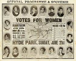 1908 Suffragette March Map Votes For Women Hyde Park Sunday June 21st Poster