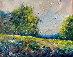 Sunny Spring Day Trees Meadows Flowers Oil Painting Impressionist Landscape