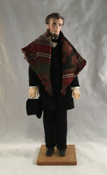 J.s. And Cecil Weeks Artist Hand Made Folk Art Doll Figure Abraham Lincoln