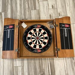 Vintage Jack And Coke Dart Board With Darts And Wood Cabinet Fold In Doors