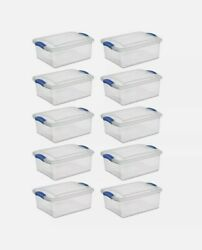 Sterilite 15 Qt. Latch Box Stadium Blue Set Of 10