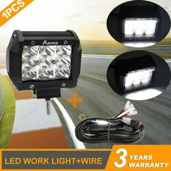 1pcs 4inch 240w Led Work Light Spot Pods Driving Strip Offroad 4wd +wire