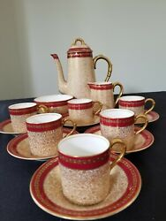 Royal Worcester Demi 6 Cups And Saucers Coffee Pot Creamer And Sugar England