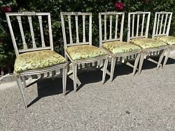 Vintage French Country Farmer Slat Back Swedish Gustavian Styled Antique Chairs
