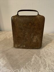 Antique Swiss Iron Cow Bells Farm Chalet Decor C1900 With Brass Ringer Stamped 5