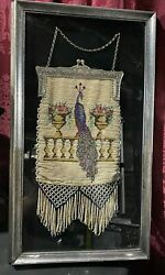 Antique Victorian Micro Beaded Scenic Purse Peacock On A Railing