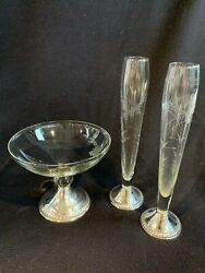 Set Of 3 Duchin Etched Glass 925 Sterling Silver Weighted Base Bud Vases 596