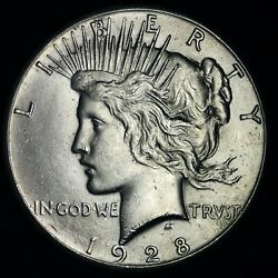 1928 Peace Silver Dollar Choice Bu E384 Rnba