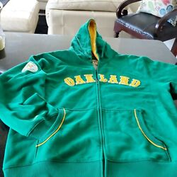 Mitchell And Ness Cooperstown Mlb Oakland Athletics A's Hoodie Jacket Green Gold L