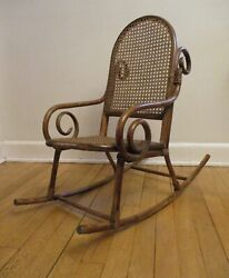 Antique Child Child's Bentwood Bamboo Scroll Rocker Rocking Chair Nice