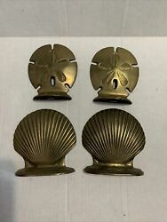 Vtg Solid Brass Seashell Clam Shell Sand Dollar Bookends Nautical Beach Patina