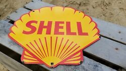 Vintage Shell Motor Oil Porcelain Gas Station Pump Gasoline Sign