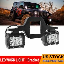 Pair 4inch 240w Led Work Light Spot Pods Driving Strip Offroad 4wd +brasket