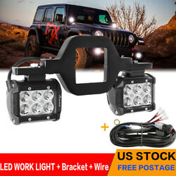 Pair 4inch 240w Led Work Light Spot Pods Driving Strip Offroad 4wd +brasket+wire