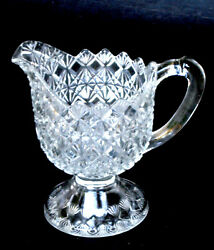 Eapg Cream Pitcher Fine Cut And Block Crystal King Son And Co. 25 Glass 1870s