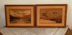 Vintage Hudson River Wood Inlay Marquetry 16 By 13 Geese In Flight