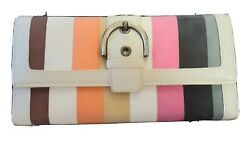 Coach Sherbet-striped Wallet New W/out Tags