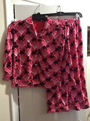 Nick And Nora Pajama Set Scotty Dog Red Pink Peppermint Plaid Girls Size M 7-8