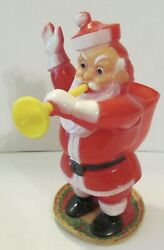 Vintage Hard Plastic Rosen Rosbro Santa Claus Yellow Horn Candy Container Label