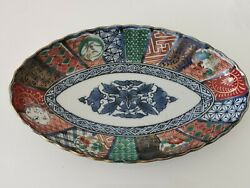 20th Century Japanese porcelain famille rose blue white plate#2 Home clearance