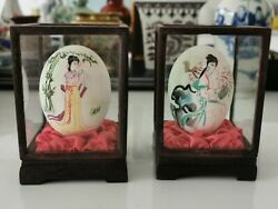 1950s Chinese handcraft eggshell painted figures with boxes #11 Home clearance