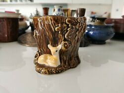 20th century England brown glazed deer and tree pot planter #23 Home clearance