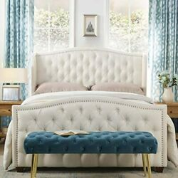 Antique White Queen Wingback Tufted Hand-applied Nail Heads Upholstered Bed