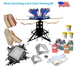 High Quality Mesh Stretching And Micro-adjust 6 Color 6 Station Printing Kit New