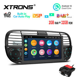 Dvr+7 Android 10 32gb Car Stereo Radio Gps Car Auto Play For Fiat 500 2007-2015