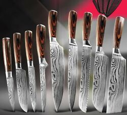 Top Kitchen Knife 1- 9pcs Set Chef Japanese 7cr17 440c Stainless Steel Damascus