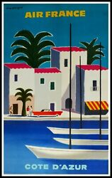 Original Travel Vintage Poster - Air France French Riviera By Guy Georget - 1951