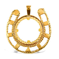 Jewelco London 9ct Gold Lucky Horse Shoe Frame Full Sovereign Coin Mount Pendant