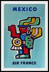 Original Vintage Travel Poster Air France Andndash Mexico By Jean Colin 1957
