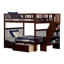 Atlantic Furniture Woodland Staircase Bunk Bed With 2 Urban Bed Drawers