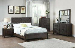 Modern Style Bedroom Cal King Size Bed Dresser Mirror Nightstand Natural Wooden