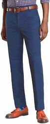Brooks Brothers Mens Navy Milano Fit Supima Cotton Stretch Chinos 40w 34l 7100-6