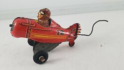Vintage Marx Tin Wind-up Roll Over Toy Airplane 12 Red Parts Or Restoration