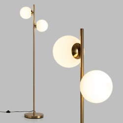 65 Led Floor Lamp 2 White Light Bulbs Glass Lampshade And Foot Switch Home Dandeacutecor
