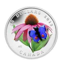 Canada 2013 20 Fine Silver Purple Coneflower And Eastern Tailed Blue Butterfly