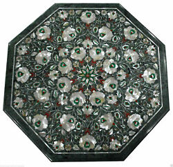 2and039x2and039 Antique Marble Table Top Inlay Pietra Dura Art Dining Coffee Center E