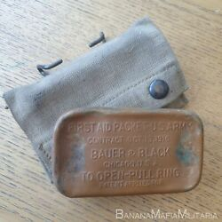 Ww1 Us M1910 Army First Aid Field Dressing Pouch - With 1916 Bauer Bandage