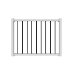 White Poly-composite Rail Gate Kit W/metal Balusters For Railing 36 In. To 48 In