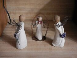 Lot Of 3 Willow Tree Figures Thank You And Angel Of The Heart