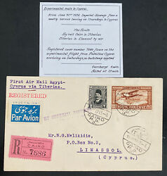 1932 Cairo Egypt First Flight Airmail Cover Ffc To Limassol Cyprus Imperial Airw